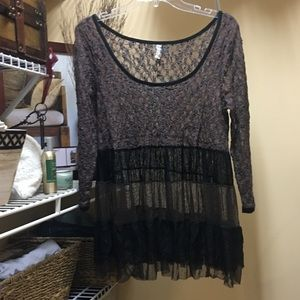 Free People Tunic top sheer/lace ruffles brown/blk
